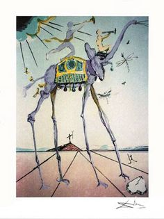 Dali Celestial Elephant...MW, this is a painting by a very famous artist ( like you'll be one day). His name is Salvadore Dali and he is Spanish. I think you will like him, Hon...xxxxx ooooo