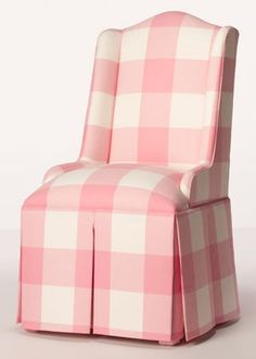 Very under-scaled wing-back chair in large Buffalo plaid pink fabric... Isn't that pretty!