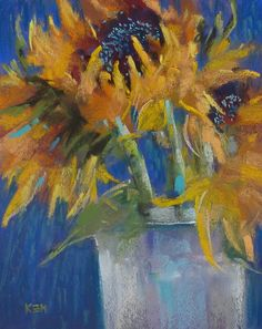 Karen Margulis Painting my World: Tips for Painting on Canson ...Sunflowers on Blue