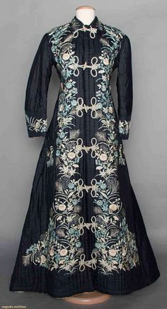 "DARK BLUE EXPORT ROBE, JAPAN, 1880-1890 Silk taffeta, channel quilted, white, light blue & sky blue embroidered floral pattern, 2 patch pockets, small back train, white China silk lining, B 34"", L 55""-65"""