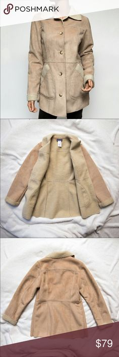 Patagonia Shearling Jacket Patagonia Women's Beige Shearling Coat, Style 27037, Medium, Discontinued    Excellent condition! This is a lovely beige & tan shearling coat by Patagonia! It has a soft, smooth face and a fleece interior. Patagonia Jackets & Coats