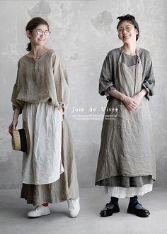 BerryStyle | 라쿠텐 일본: Joie de Vivre 프렌치 린넨 선염 살브레이왓샤에프론셋트(쇼트・롱 2장 세트)