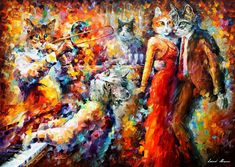 Cat Club — Palette Knife Dancing Animals Abstract Wall Art Oil Painting On Canvas By Leonid Afremov. Size: X Inches cm x 75 cm) Popular Paintings, Colorful Paintings, Paintings For Sale, Oil Paintings, Simple Oil Painting, Oil Painting On Canvas, Knife Painting, Abstract Animals, Abstract Wall Art