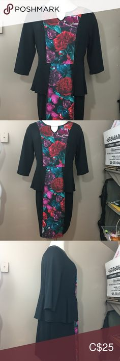 NWT Coquette et Coquine Black Floral Dress Peplum Quality T Shirts, Silver Bars, Plus Fashion, Fashion Tips, Fashion Trends, Mother Of The Bride, Peplum Dress, Middle, Wedding