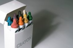 'crayon' is a series of food bars by luxirare that are made from various other foods crushed  together and formed into cylinders to look just like crayons.