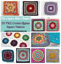 Roundup: Pick a Square Make a Blanket: 20 free #crochet square patterns, curated by The Stitchin' Mommy
