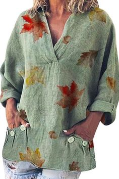 Plants Print Outfits – Page 3 – immorgo Cotton Sweater, Leaf Prints, Sweaters, Tops, Pullover, Shell Tops, Sweater, Sweatshirts