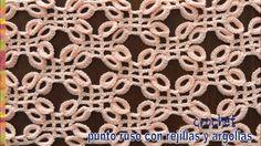 Bello punto ruso tejido a crochet que imita la técnica del frivolite o tatting :)