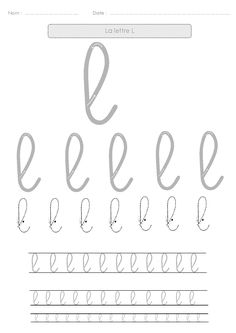9 fiches d'écriture pour s'entraîner à l'écriture cursive en découvrant les lettres avec les boucles.