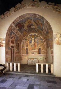 UNKNOWN MASTER, Italian Chapel of Sts Catherine and Ambrose  1350-1400 Fresco Pinacoteca di Brera, Milan  The chapel of St Catherine and Ambrose from the oratory Porro di Mocchirolo di Lentate, Milan was reconstructed in the Pinacoteca di Brera.