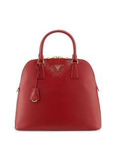 Saffiano North/South Dome Bag, Red (Scarletto) by Prada at Bergdorf Goodman.