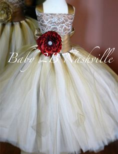 Chocolate and Gold Lace Flower Girl Dress with Red Flower Rustic Wedding Flower Girl  Dress Tutu Dress  All Sizes Girls