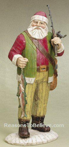 rustic santas | Fishing Santa | Santa Claus Figurines and Hand Carved Wooden Santas