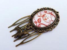 Kleiner Haarkamm mit Schnörkel Zweig braun bronze von Schmucktruhe, €12.50