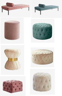 10 billiga sammetsstolar för ett lyxigt hem med wow-faktor Ottoman, Furniture, Home Decor, Homemade Home Decor, Home Furnishings, Decoration Home, Arredamento, Interior Decorating