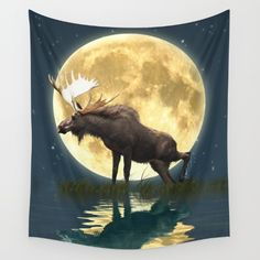 Moose & Moon by Skye Ryan-Evans - Available in three distinct sizes, our Wall Tapestries are made of 100% lightweight polyester with hand-sewn finished edges. Featuring vivid colors and crisp lines, these highly unique and versatile tapestries are durable enough for both indoor and outdoor use. Machine washable for outdoor enthusiasts, with cold water on gentle cycle using mild detergent - tumble dry with low heat. https://society6.com/product/moose--moon-r2o_tapestry?curator=skyeryanevans