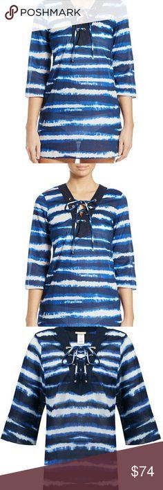 Michael Kors Cover Up Women's Blue Azure Striped Lace Up Cover up 100% cotton sz M Michael Kors Swim Coverups
