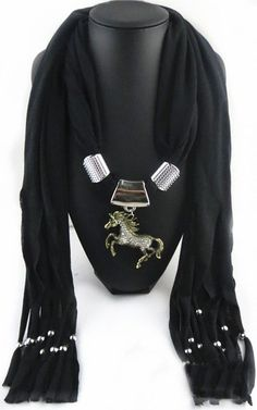 DIY Fashion Jewelry Horse Pendant Necklace Costume Scarf Jewelry Scarf with Tassel Beads Free Shipping