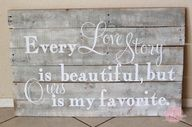 DIY Pallet of Love. Just nail a few boards together & brace both sides. Then paint the board whichever color you'd like & paint on your quote (You can also use vinyl or decals). Apply a thick coating of Mod Podge, let it dry & then apply 2 coats of Satin Finish to finish off the look.
