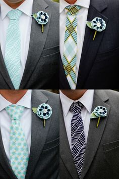 mix and match ties — it's has potential… I love the boutineers! This is one of the ideas I've seen of making the boutineer out of fabric and a button instead of using typical flowers. Wedding Men, Wedding Groom, Wedding Attire, Wedding Styles, Dream Wedding, Wedding Stuff, Melbourne Cup, Gifts For Grooms Parents, Derby
