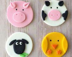 12 Farm Animals cupcake toppers Farm/Farm by EllaBelllaDesigns