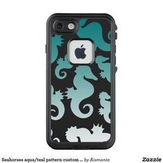 Seahorses aqua/teal pattern custom background LifeProof FRĒ iPhone 7 case
