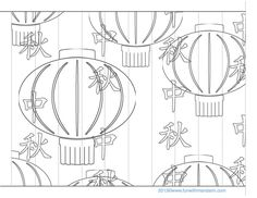 Chinese New Year Lantern Craft Pattern : Printables for