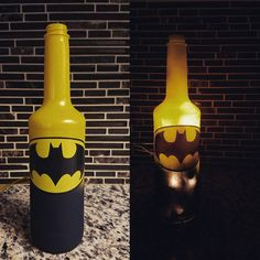 Batman plug in lighted wine bottle. Batman by WineCraftCreations