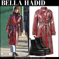 Bella Hadid in red check laminated trench coat