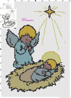 Angel with baby Jesus cross stitch pattern