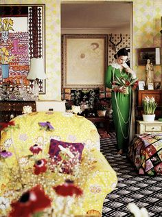 Gloria Vanderbilt in the living room of her United Nations Plaza apartment, photographed by Horst P. Horst for Vogue (1975):