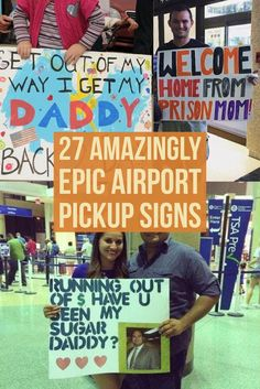 Clever As Well As Funny Airport Pickup Sign Boards Funny Welcome Home Signs, Airport Welcome Signs, Welcome Home Signs For Military, Welcome Home Posters, Welcome Back Home, Welcome Home Banners, Welcome Poster, Funny Signs, Military Homecoming Signs