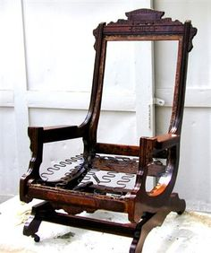 This is like mine but not stripped down. Eastlake Rocker-needs upholstery & Antique Victorian Rocking Chair   refinishing furniture   Pinterest ...