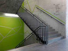 Umwelt Arena by Rene Schmid Architekten, Spreitenbach – Switzerland Stairwell Wall, Stair Walls, Wayfinding Signage, Signage Design, Banner Design, Environmental Graphics, Environmental Design, Stairs Graphic, Office Wall Graphics