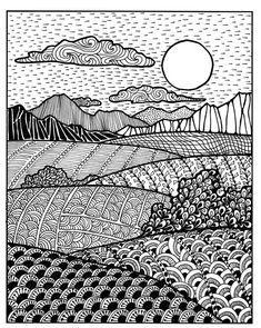 Creative patterns. Zen inspired landscape drawing. Art lesson. Doodle Art Drawing, Zentangle Drawings, Mandala Drawing, Drawing Flowers, Doodles Zentangles, Drawing Drawing, Doodle Art Designs, Doodle Patterns, Zentangle Patterns