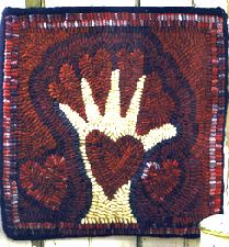 Traditional Rug Hooking Designs by Sally Van Nuys of Folk 'n' Fiber - Hearts on my Hand pattern as seen in Create and Decorate magazine