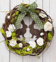 Easter wreath with rabbits spring door decorations moss spring natural wreaths