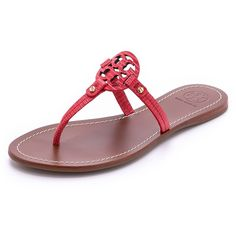 Tory Burch Mini Miller Flat Thongs ($135) ❤ liked on Polyvore featuring shoes, sandals, melon, toe post sandals, mini melissa shoes, rubber sole sandals, leather sandals and flat thong sandals