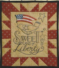 Primitive Folk Art Embroidery/Quilt Pattern: LIBERTY - Fabric Accent is Included on Etsy, $8.00