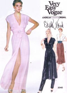 d8445d5bb5 1970s Evening Dress Tunic and Pants Pattern Vogue American Designer  Original 2040 Edith Head Wrap Gown