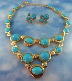 Signed KJL Kenneth J Lane Turquoise Glass & Crystal Statement Necklace & Earrings