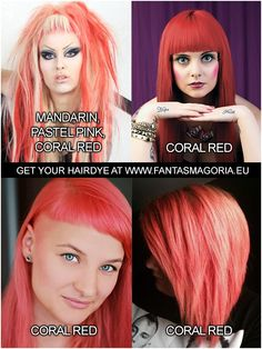 Directions Coloring hair balsam by LaRiche- Coral Red Gothic Hairstyles, Permed Hairstyles, Cool Hairstyles, Semi Permanent Hair Dye, Synthetic Hair Extensions, Bright Hair, Bleached Hair, Red Coral, Pastel Pink