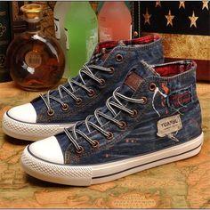 Vintage high canvas shoes women denim shoes all match retro spring autumn vulcanize shoes for women A661