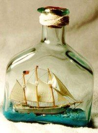 Something about a ship in a bottle doesn't seem to fit. Oh, that's it — the ship! Learn the secret to create your own ship in a bottle. Boat In A Bottle, Ship In Bottle, Bottle Picture, Message In A Bottle, Tall Ships, Pirates Of The Caribbean, Sea Foam, Strand, Sailing Ships