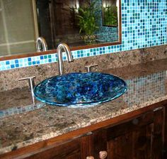 Hand Blown Glass Sink, Baptismal Font, Glass Bowl Sink and Glass Pedestal Sink