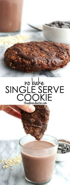 No Bake Single Serve Cookie | Craving chocolate but don't want to make (and eat) an entire batch of cookies? This single serve cookie is just what you need! Only 6 ingredients too! #nobake