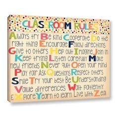 Alli Rogosich's 'Classroom Rules 2' Gallery Wrapped Canvas