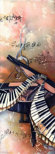 Watercolor and black gesso on 300lb. Arches cold pressed paper. My love of music, Mozart and a piano playing mother inspired this piece and a series of music based paintings. Prints and note cards also available.. Original Painting