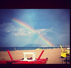 "Twitter / ERTourism: #Riccione: Rainbow over the sea ""Behind the clouds the sun always shines"" by @TweetRiccione"
