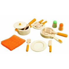 "This is the perfect set of cookware to get your young chef ""cooking"". The cookware, dinnerware, and silverware are made of natural wood with orange water-based paint. Included are salt and pepper shakers that sound like the real thing, 2 knives, 2 forks, 1 pot with lid, 1 fry pan, 1 large ladle, 1 spatula, 2 dishes, and a kitchen towel. Great addition to the Gourmet Chef Kitchen. The Educo brand has meant quality and innovation in toys for over 30 years."